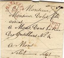 """1833- Lettre En P.P. De CHARLEROI Pour Mons   """" Franco """" - 1830-1849 (Belgique Indépendante)"""
