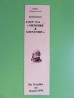 """Petit Marque-page - Exposition Août 1914...""""Mémoire & Souvenirs"""" - Redu En Belgique - Village Du Livre - Marcapáginas"""