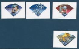 Timbres Neufs** Botswana 2001, Minéraux, N°851-4 Yt, Pierres Précieuses, Diamants, Timbres Auto-adhésifs En Forme De Dia - Mineralien