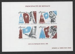 MONACO JEUX OLYMPIQUES SEOUL 1988 - BF BLOC FEUILLET NON DENTELE - N° 42 A ** MNH - COTE 350 EUR - Blocs