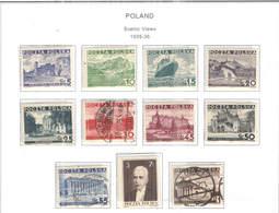 Polonia PO 1935/36 Scene E Vedute   Scott.294/304+See Scan On Scott.Page; - 1919-1939 Republic