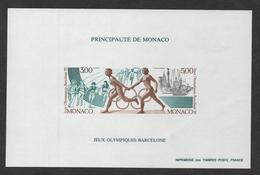 MONACO JEUX OLYMPIQUES DE BARCELONE 1992 - BF BLOC FEUILLET SPECIAL NON DENTELE - N° 18 A ** MNH - COTE 230 EUR - Blocs
