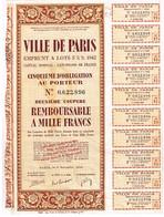 Obligation  Ancienne - Ville De Paris - Emprunt à Lots 3 1/2% 1942 - Actions & Titres