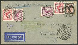 GERMANY: 2/JUN/1933 Bremen - Blumenau(Brazil): Airmail Cover Flown By Zeppelin, With Transit Mark Of Friedrichshafen For - Germania
