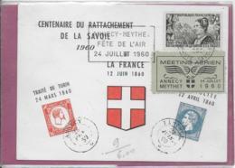 CENTENAIRE DU RATTACHEMENT DE LA SAVOIE  1960  ( Fête De L' Air  ) - Briefe U. Dokumente