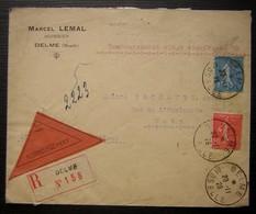 Delme (Moselle) 1928 Lettre Recommandée De Marcel Lemal Huissier, Contre Remboursement, Pour Metz - Marcophilie (Lettres)