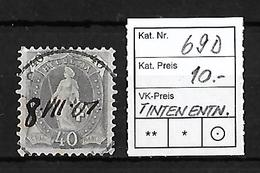 1882-1904 STEHENDE HELVETIA → SBK-69D  ►ev.defekter Stempel →Tintenentwertung◄ - 1882-1906 Armoiries, Helvetia Debout & UPU