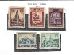 Polonia PO 1945 Liberazione Cracovia  Scott.357/361 +See Scan On Scott.Page; - 1944-.... Repubblica