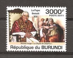 BURUNDI - 2011 MICHELANGELO  Sibilla Delfica (Cappella Sistina,Vaticano) E Papa BENEDETTO XVI  Nuovo** MNH - Religión