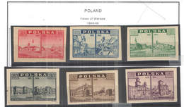 Polonia PO 1945/46 Vedute Di Varsavia Imperf.  Scott.374/379 +See Scan On Scott.Page; - 1944-.... República