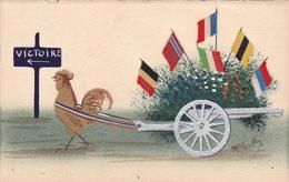 CPI Signée Boittey - VICTOIRE Des ALLIES Guerre 1914 - 1918 (carte De 1915) Peinte Et Drapeaux Tissus - Patriottiche