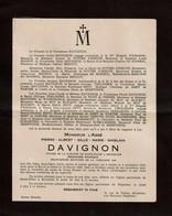 Faire-part De Décès M. L'Abbé Pierre DAVIGNON - Ixelles 1912 / Mort Pour La Patrie Camp De Gross Roosen Camp De Dora - Obituary Notices
