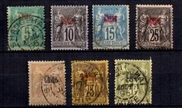 Chine Française Sept Timbres Anciens Oblitérés 1899/1906. B/TB. A Saisir! - Chine (1894-1922)