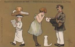 """CPA COULEUR:SIGNÉ """"GUILLAUME"""" THÉÂTRE DES BONSHOMMES GUILLAUME ( LA FRISE ) FACTEUR GARÇON DE CAFÉ..EXPOSITION DE 1900 - Guillaume"""