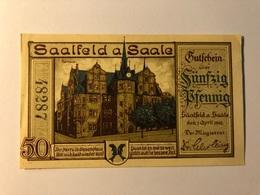 Allemagne Notgeld Saalfeld 50 Pfennig - [ 3] 1918-1933 : Weimar Republic