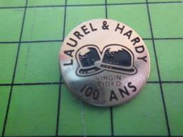 1418c Pin's Pins / Belle Qualité Et TB état !!!! : THEME CINEMA / CHAPEAUX MELON LAUREL & HARDY 100 ANS VIRGIN VIDEO - Films