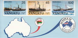 1984 Vanuatu Ships Maps Miniature Sheet Of 3 MNH - Vanuatu (1980-...)