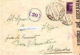 """LETTERA ,1° PORTO,AFFRANC. C- 50 ANN. """"CATANIA 3-8-41"""" CON FASCETTA DI VERIFICATO PER CENSURA (AL) N.30 PER ALESSANDRIA. - 1900-44 Victor Emmanuel III"""
