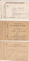 Carte Franchise Prisonniers De Guerre De Castres Tarn Les 3 Types Différents - Marcophilie (Lettres)