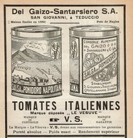 Publicité De Presse 1925 - Tomates Italiennes Le Vesuve - Del Gaizo-Santarsiero S.A. San Giovanni Teduccio - Pubblicitari