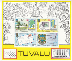 1980 Tuvalu London  Philately Stamp On Stamp  Miniature Sheet Of 4 MNH - Tuvalu