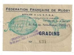 1922 RUGBY TOURNOI DES V NATIONS FRANCE PAYS DE GALLES / TICKET ENTREE / COLOMBES / AU DOS PUB SPALDING MATCH    B500 - Rugby