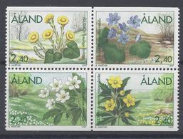 ALAND - BLOC DE 4 TIMBRES NEUFS** - FLEURS FLORE - Aland