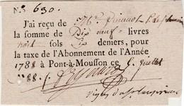 Petit Reçu N° 690 / Taxe / Impôt Sur Les Vignes ? / De 19 Livres 3 Sols 6 Deniers / 5 Juillet 1788 / Pont à Mousson 54 - Factures & Documents Commerciaux