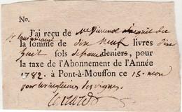 Petit Reçu 1782 / Taxe / Impôt Vingtièmes* Sur Les Vignes  / 19 Livres 18 Sols / Pont à Mousson 54 - Factures & Documents Commerciaux