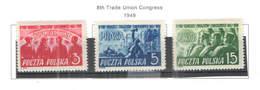 Polonia PO 1949 8 Ongresso Lav. Scott.451/453 +See Scan On Scott.Page; - 1944-.... República