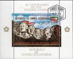 Guinea Equatoriale 1975 Bf. 179A Bicentenario Rushmore Dakota Lincoln Washington Ecuatorial Perf. CTO - Guinée Equatoriale