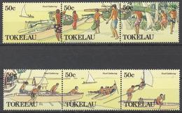 Tokelau 1989 Mi# 165-70** FISHING AND GATHERING COCONUTS - Tokelau