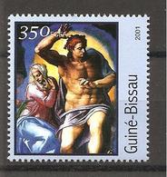 GUINEA-BISSAU - 2001 MICHELANGELO Cristo E Madonna (Cappella Sistina, Vaticano) Nuovo** MNH - Religión