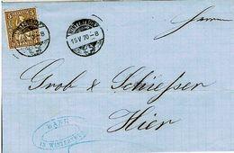Schweiz Suisse 1870: HELVETIA 5c Braun Zu 30 Mi 22 Yv 35 BANK-Orts-Falt-Brief O WINTERTHUR 15.V.70 (Zu CHF 5.00) - 1862-1881 Helvetia Seduta (dentellati)