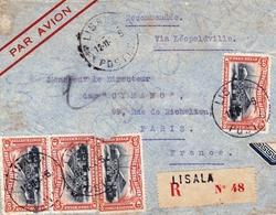 Lettre Recommandée Lisala Congo Belge Poste Aérienne Via Léopoldville - 1947-60: Lettres