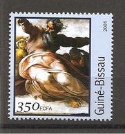 GUINEA-BISSAU - 2001 MICHELANGELO Creazione Del Sole, Luna, Pianeti (Cappella Sistina, Vaticano) Nuovo** MNH - Religión