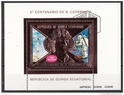 Bf. 99A Guinea Equatoriale 1974 Copernico Copernicus Sheet In Rilievo (Impreso Sobra Cobre) Ecuatorial Guinee - Guinée Equatoriale