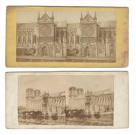 PARIS  Notre-Dame Stéréo Porche - Portail Sud Dit De St-Etienne Avant 1860  + Autre Stéréo Avant Travaux Viollet Le Duc - Photos Stéréoscopiques