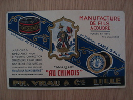 """DOCUMENT MANUFACTURE DE FILS A COUDRE MARQUE """"AU CHINOIS"""" PH. VRAU & Cie LILLE - Advertising"""