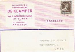 """Postkaart Publicitaire 1953 AARSCHOT- """"DE KLAMPER"""" - Wed. Fr. INGELBERTS-PELGRIMS - Drukkerij - Papierhandel - Aarschot"""