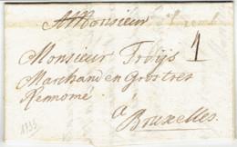 """LAC Marque Manuelle """"luxemb"""" Vers Bruxelles 3 Aout 1733 Commande De Boutons Par Quartier Maitre 4 Port Fermeture Cire - Luxembourg"""