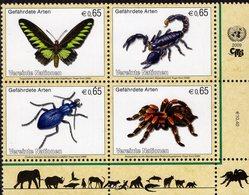 United Nations - Vienna - 2009 - Endangered Fauna - Insects - Mint Stamp Set (se-tenant Block) - Wien - Internationales Zentrum