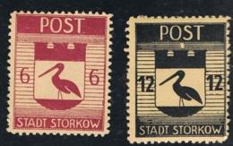 31. Jan 1946 Deutsche Lokalausgabe Storkow Freimarken Michel 12 Und 14 Postfrisch Xx - Deutschland