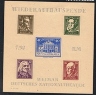 27. März 1946 Wiederaufbau Des Deutschen Nationaltheaters Weimar Michel Block 3 B Mit Gummierung Und Falz X - Sowjetische Zone (SBZ)