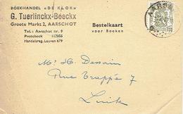 """Postkaart Publicitaire 1947 AARSCHOT- """"DE KLOK"""" - G. TUERLINCKX-BOECKX - Boekhandel - Aarschot"""