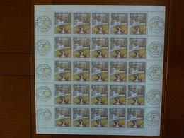 Planche De 25 Timbres Oeuvre De G Seurat N°1588A (oblitération 1er Jour Dans Les Marges) - Ongebruikt