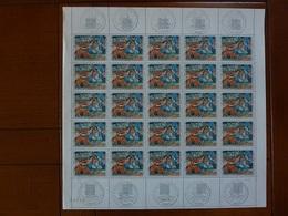 Planche De 25 Timbres Oeuvre De Paul Gauguin N°1568 (oblitération 1er Jour Dans Les Marges) - Ongebruikt