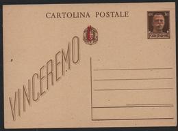 CP 30c Sovr. Rep.Soc.It. In Rosso E Fascetto Su Stemma Nuova - 4. 1944-45 Repubblica Sociale