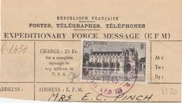 Expeditionary Force Message (EFM) Timbre 611 Sur Fragment Cachet US 1945 - Guerre