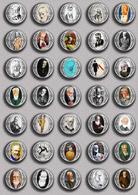 Writer Nobel Prize In Literature George Bernard Shaw-1925 PIN's SET 1 (1inch/25mm Diameter) 35 DIFF - Celebrities